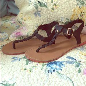 Cute black thong sandals